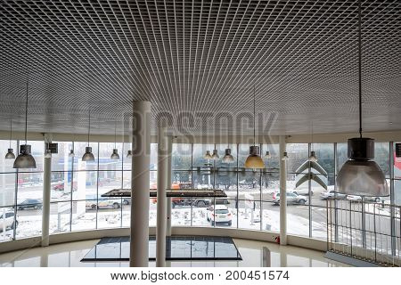 Interior inside a car showroom before opening
