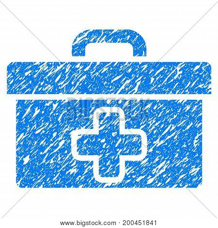 Grunge First Aid Toolbox icon with grunge design and dirty texture. Unclean vector blue pictogram for rubber seal stamp imitations and watermarks. Draft emblem symbol.