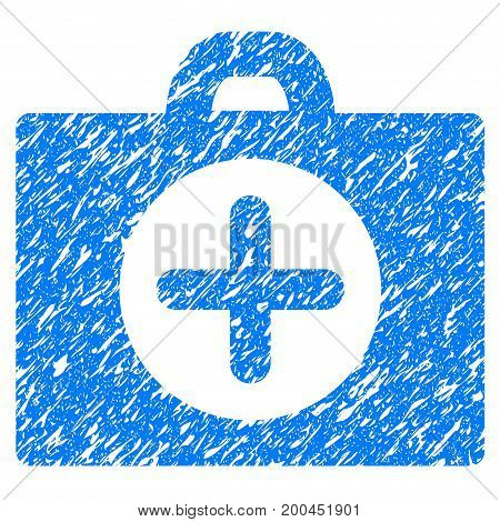 Grunge First Aid icon with grunge design and scratched texture. Unclean vector blue pictogram for rubber seal stamp imitations and watermarks. Draft emblem symbol.