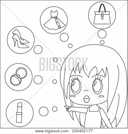Vector image that represents the demand of women. Coloring page concept for kids.