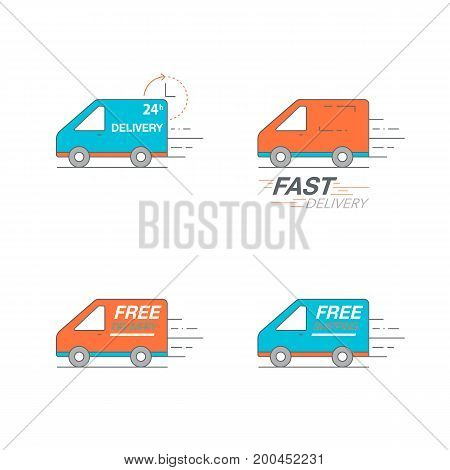 Delivery Icon Set. Van Service, Order, 24 Hour, Fast And Free Worldwide Shipping.