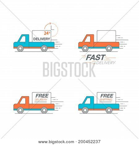 Delivery Icon Set. Pickup Service, Order, 24 Hour, Fast And Free Worldwide Shipping.