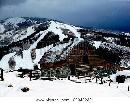 Historic wooden barn in Steamboat Springs, Colorado