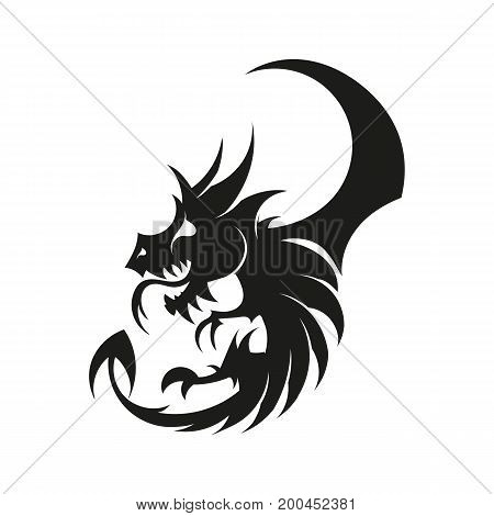 logo a dragon with wings a vector illustration