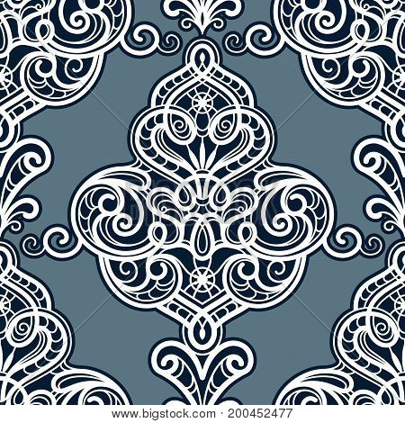 Vintage ornamental background, seamless damask pattern in neutral color