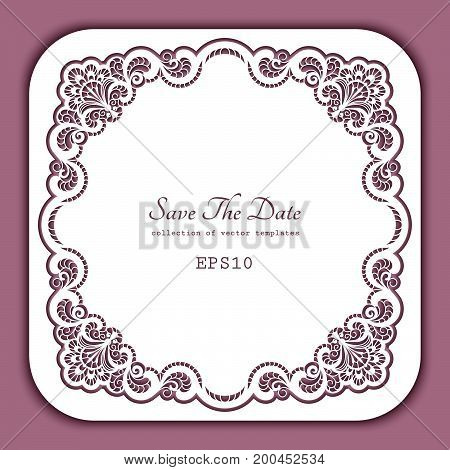 Square laser cut frame with cutout paper lace border, greeting card or wedding invitation template