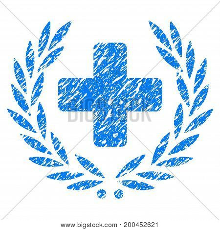 Grunge Medical Glory icon with grunge design and dust texture. Unclean vector blue pictogram for rubber seal stamp imitations and watermarks. Draft sign symbol.