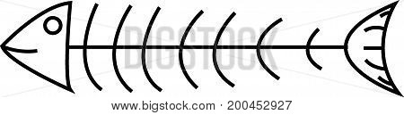 Vector image of fish bone on white background.