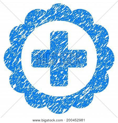 Grunge Medical Sticker icon with grunge design and scratched texture. Unclean vector blue pictogram for rubber seal stamp imitations and watermarks. Draft emblem symbol.