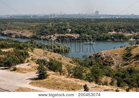 The ship sails along the Dnipro river Zaporozhye