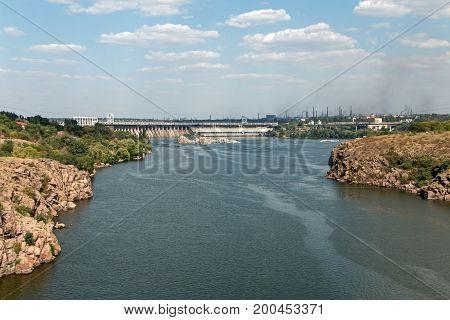 Rocky shore of the Dnieper River Zaporozhye