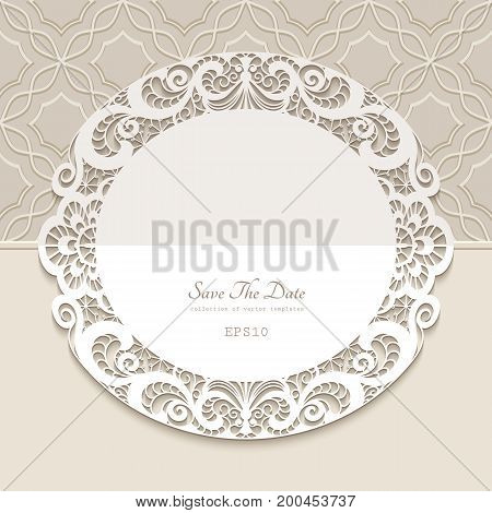 Vintage round frame paper lace doily elegant save the date card or wedding invitation template with laser cut border