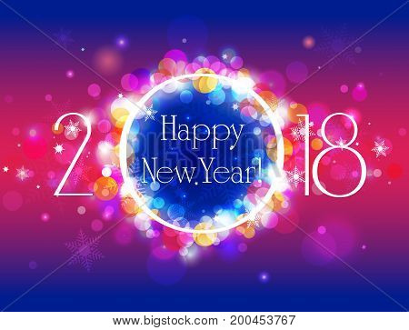 Happy New Year 2018 vector winter colorful background illustration with well organized layers