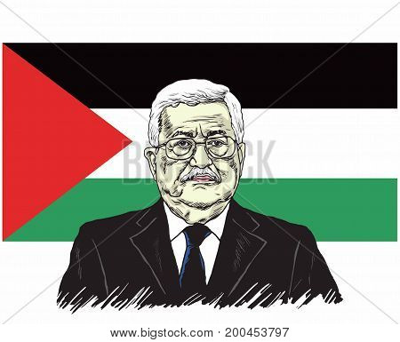Mahmoud Abbas, President of Palestine with Palestine Flag Background, Vector Design Illustration, August 20, 2017.