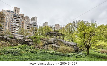 Central Park And Manhattan Skyline In Nyc