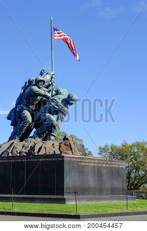WASHINGTON, DC - NOVEMBER 11, 2015: Iwo Jima Memorial in Washington, DC. The Memorial honors the Marines who have died defending the US since 1775 and a prominent tourist attraction in Washington DC.