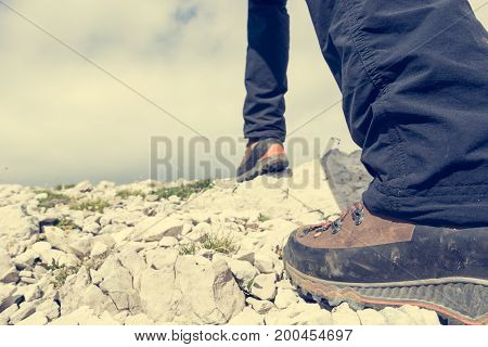 Closeup of hiking boots. Mountainering in the mountains.