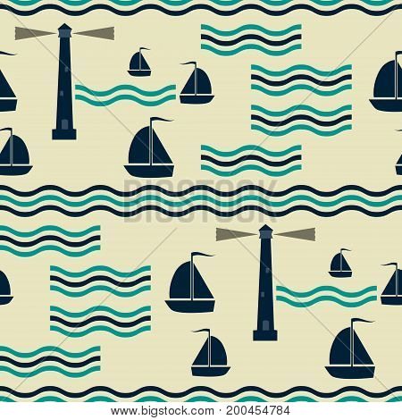 Seamless nautical pattern with waves, sailboats and lighthouses. Marine theme vector print in retro color palette