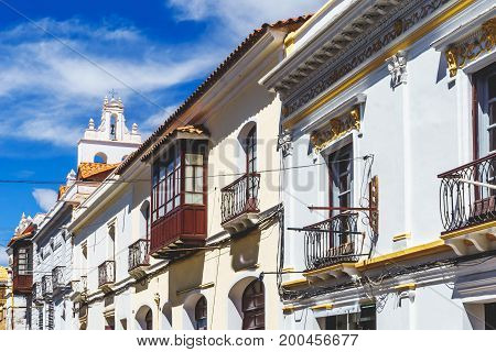 Viewon street of colonial Buildings in the colonial center of Sucre - Bolivia