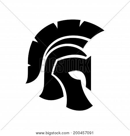 Gladiator helmet silhouette icon. Greek or Roman legionnaire warrior symbol vector illustration.