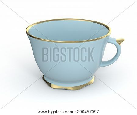 Isolated antique porcelain light blue tea cup with gold edging on white background. Vintage crockery. 3D Illustration.