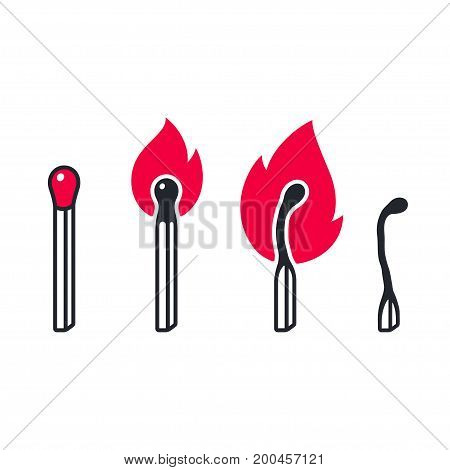 Matches and fire icons. Burning and burnt matchsticks on white background vector illustration