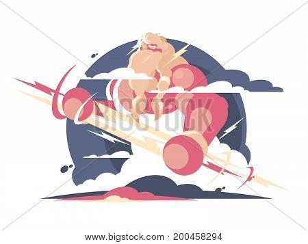 God Zeus in heaven with lightning in hands. Vector illustration