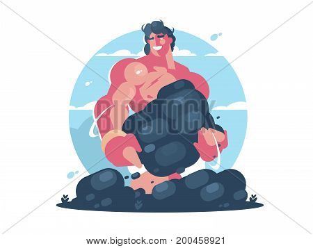 Mythological character of Hercules. Strong muscular guy. Vector flat illustration