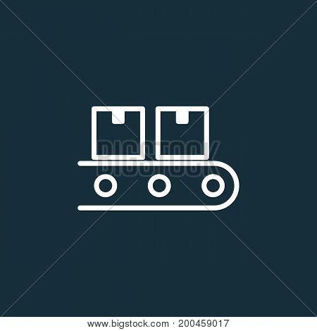Conveyor Belt Icon On Dark Background