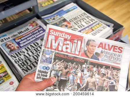 LONDON ENGLAND - MAY 14 2017 : The Sunday Mail The Sunday Mail is Scotland's best-selling newspaper