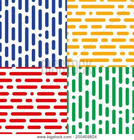 Set of four seamless halftone patterns. Abstract endless vector backdrops