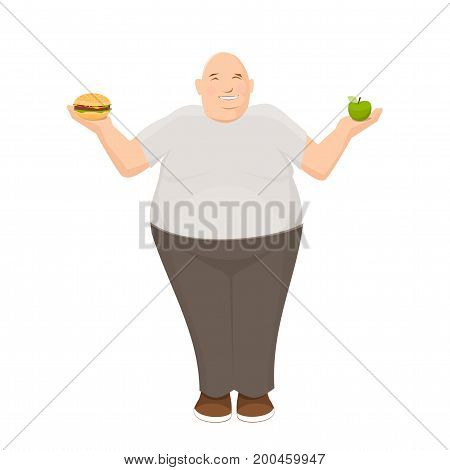 Fat man choosing between apple and burger