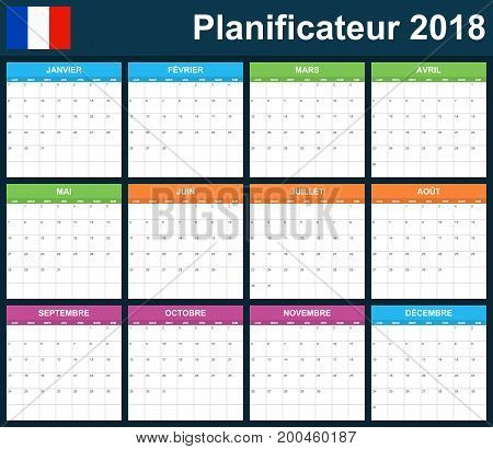 French Planner blank for 2018. Scheduler, agenda or diary template. Week starts on Monday poster
