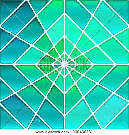 abstract vector stained-glass mosaic background - teal rhombus