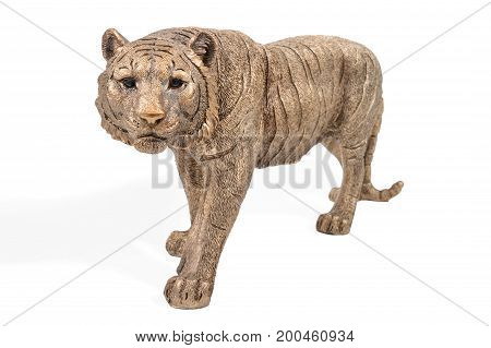 Beautiful statuette of a bronze tiger going to the camera isolated on a white background