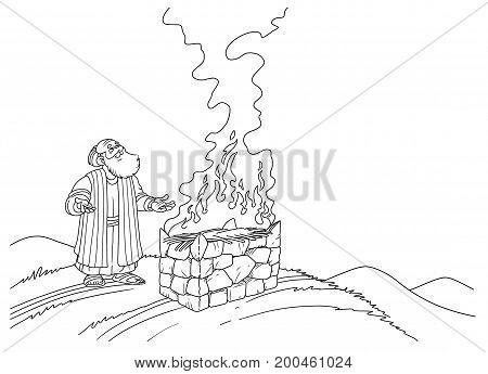 Biblical Noah makes a sacrifice on the altar and a fire burns