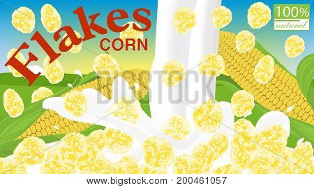 Corn flakes. Design for box. Milk pouring. Label for cereal package. Background field sky and sun. Vector illustration.