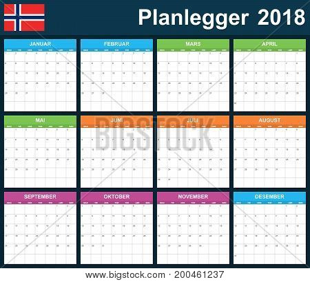 Norwegian Planner blank for 2018. Scheduler, agenda or diary template. Week starts on Monday