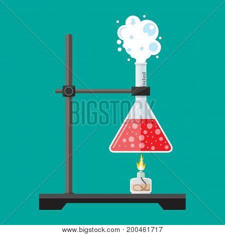 Laboratory equipment, jars, beakers, flasks, spirit lamp . Chemical reaction. Biology science education medical. Vector illustration in flat style