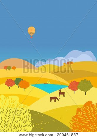 Countryside valley landscape in Autumn season. Colorful autumnal lake scenic view. River bank in red yellow wood, hills. Freehand cartoon outdoors retro style. Vector country scene banner background