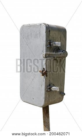 the Old electric shield on white background