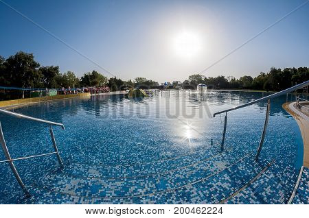Fisheye view of an empty swimming pool