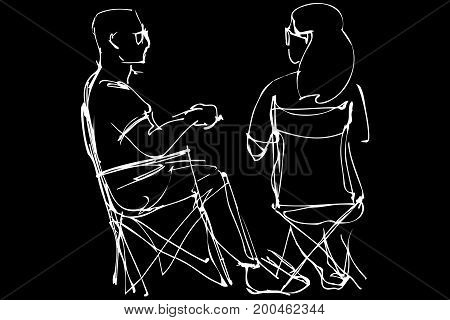 Black and white vector sketch of a man in glasses and a woman resting sitting on collapsible chairs