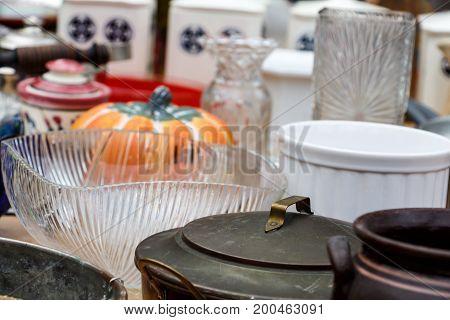 Old Vintage Kitchen Utensils, Glasses, Plates, Boilers, Souvenirs, Shots From The Flea Market