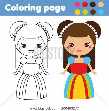 Coloring page with cute princess in kawaii style. Color the picture. Educational children game, drawing kids activity, printable sheet