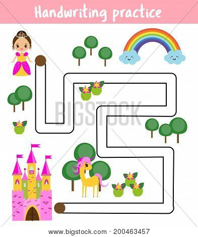 Handwriting practice sheet. Educational children game, printable worksheet for kids. Help princess find road to castle