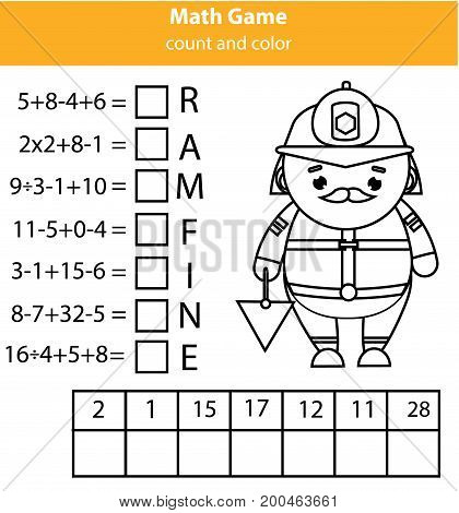 Words puzzle children educational game with mathematics equations. Counting and letters game. Learning numbers and vocabulary worksheet