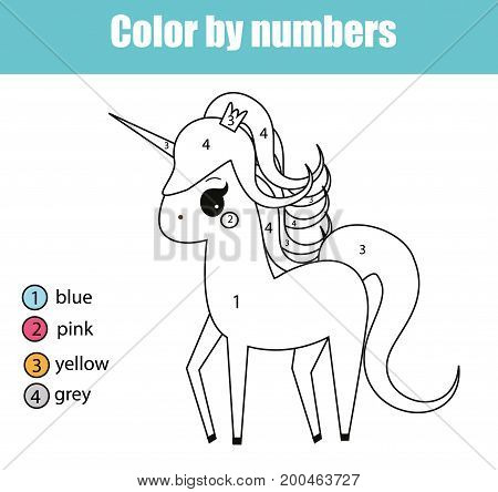 Coloring page with cute unicorn character. Color by numbers educational children game, drawing kids activity, printable sheet