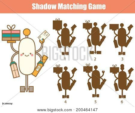 Shadow matching game for children. Find the right shadow. Activity for preschool kids with robot character