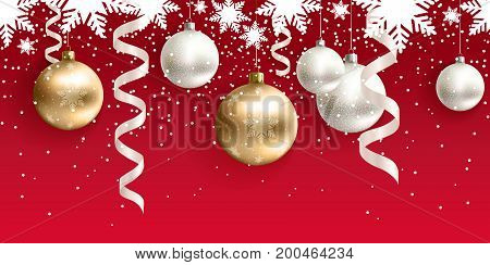 Festive Christmas decoration for website, social networks, blog or your video channel. Red seamless horizontal pattern. The endless tape. Vector. EPS10. White and gold christmas balls and serpentine